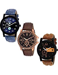 Krupa Enterprise Fashionable Analogue Watch - For Boy And Men Combo Of 3