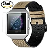 greatgo Fitbit Blaze Armband (5,5-8,6 Zoll), Leder Ersatz Handgelenk Band Armband Uhrenarmband mit Metal Rahmen für Fitbit Blaze Smart Fitness Uhr + 1PCS Displayschutz Zubehör Set (Grau)