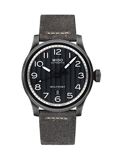 Mido Men's Multifort 44mm Grey Leather Band Automatic Watch M032.607.36.050.00