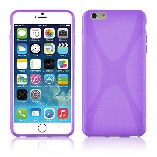 Apple iPhone 6 PLUS / 6S PLUS Silikon-Hülle in WEIß von Cadorabo - X-Line Design TPU Schutz-hülle – Handy-hülle Bumper Case Cover in MAGNESIUM-WEIß FLIEDER-VIOLETT
