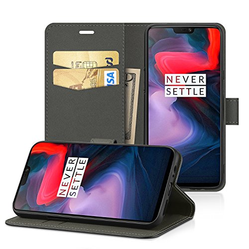 EasyAcc OnePlus 6 Custodia, Portafoglio in pelle PU Portafoglio Cover con Tasca per carta e Copertura Pieghevole Case con Supporto per OnePlus 6 - Nero