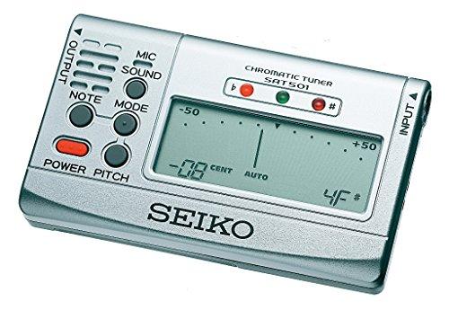 Seiko SAT501 Chromatic Tuner - Stimmgerät für alle Instrumente (Silber)