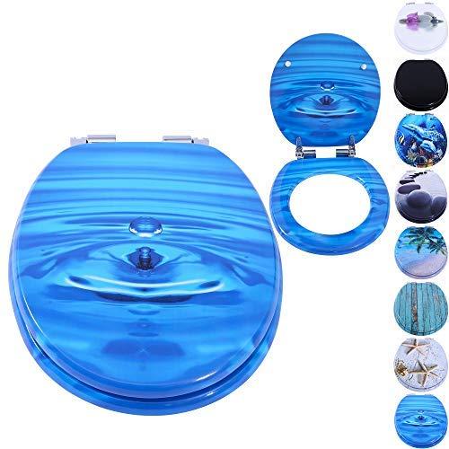 Rapid Teck® WC Sitz Klodeckel Water Drop/Wasser Tropfen Toilettendeckel mit Absenkautomatik Toilettensitz Klo Deckel aus MDF - Wasser-tropfen