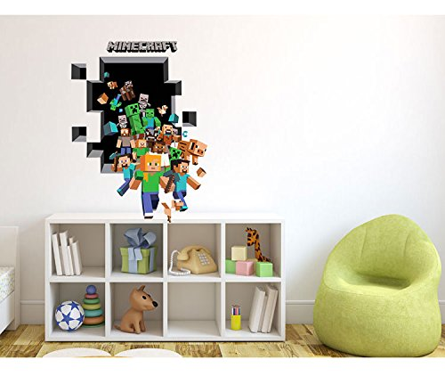 Minecraft Wandtattoo Wallsticker Sticker Figuren Steve Endermann
