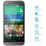 EasyAcc® HTC ONE M8 Tempered Glass Screen Protector Invisible Shield Film Guard Screen Cover Crystal Clear HD Bubble Free (Second Screen for HTC M8, Anti-Sharp Scratch, High 9H Hardness)