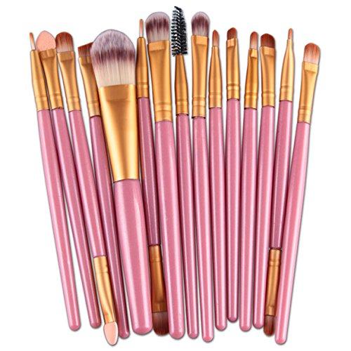 Amuster 15 pcs/Ensembles Ombre à paupières Fondation Sourcils Brosse à Lèvres Pinceau de Maquillage Outil (Rose)
