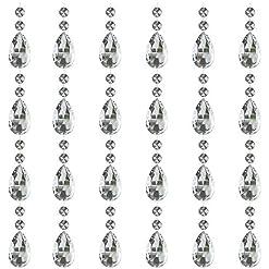 JaneYi (24 Pezzi) 38mm Pendente a Lacrima di Cristallo Prisma in Cristallo Trasparente Acchiappa-sole Gocce Pendenti con Perlina Ottagonale per DIY Sipario Lampadario Vaso Giardino Festa Natale Nozze
