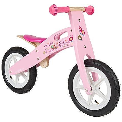 BIKESTAR® Premium 30.5cm (12 pulgadas) Bicicleta sin pedales para las princesas mas pequeñas a partir de los 3 años ★ Edición de madera natural ★ Rosa