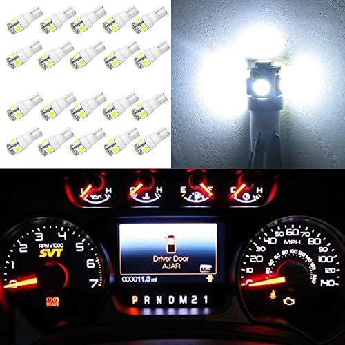 WLJH Lot de 20 ampoules LED T10 194 multifonction pour voiture, intérieur de voiture, carte dôme de porte, instrument de courtoisie, tableau de bord