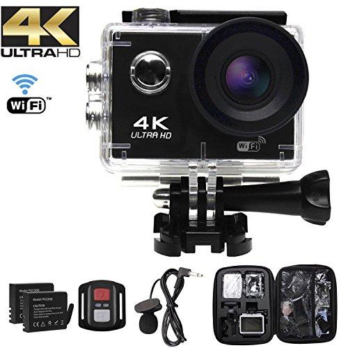 Camara Deportiva 4K Ultra HD, Videocamara WiFi subacuatica de 30 m de Profundidad, Pantalla LCD de 2 in, Mic Externo, 170 °,150 °,20MP, Control Remoto 2.4G, 2 baterías Recargables y Kit de Montaje