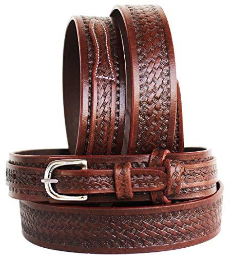 ProRider Western Ranger-Leder Gürtel Hand Basketweave 26ranger12, Braun, Gold, 51-52 inches