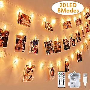 LED Foto Lichterkette, Warmweiß, Nasharia mehrweg 2.2 Meter/Lichterketten-8 Modi 20 Foto-Clips, USB/Batteriebetrieben Stimmungsbeleuchtung, Dekoration für Wohnzimmer, Weihnachten, Hochzeiten, Party