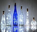 Confezione da pezzi luci a LED con 20lampade a led a forma di tappo di sughero, filo di rame, per la decorazione di bottiglie, per Natale, matrimonio, Party, Bianco