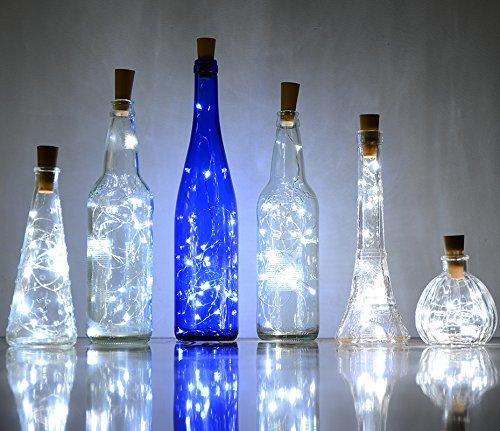 6er-Pack Lichterketten mit 20 LED-Lampen in Korkenform, Kupferdraht, zur Dekoration von Flaschen, für Weihnachten, Hochzeit, Party, weiß
