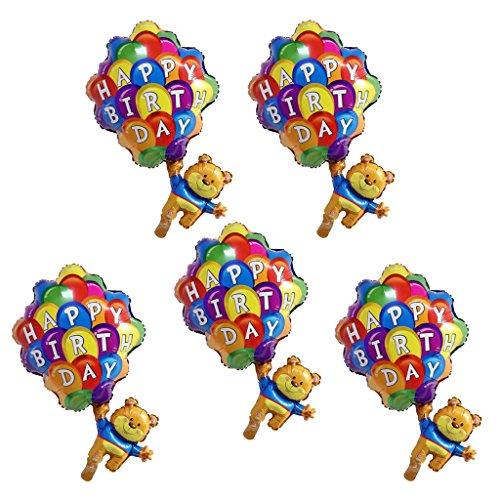Baoblaze Folienballon Bär Fallschirm Heliumballon Luftballon Dekoration für Kinder Geburtstag Party Set/5Stück