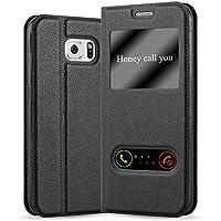 Cadorabo Coque pour Samsung Galaxy S6 en Noir COMÈTE – Housse Protection avec Stand Horizontal, Fente Carte et Deux Fenêtres – View Etui Poche Folio Case Cover