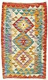 CarpetFine: Kelim Afghan Teppich 58x95 Blau,Rot - Geometrisch