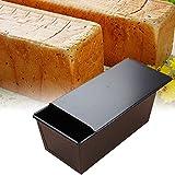 Molde de metal antiadherente con tapa para tostar pan y preparar bizcochos, color negro