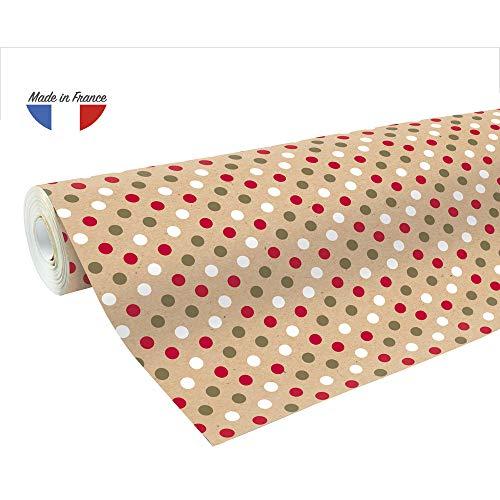Clairefontaine 223800C Rolle Geschenkpapier mit Weihnachtsmotiven, 50 x 0,70m, 70g/qm, recycling Kraftpapier, ideal für große Geschenke, 1 Stück, Rot/Weiß/Gold