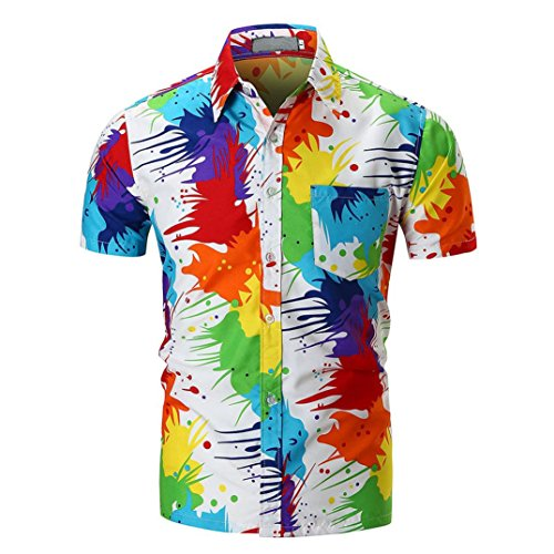 VEMOW Sommer Vatertag Geschenk Männer Casual Schlank Täglich Casual Business Kurzarm American Flag Printed Shirt Top Bluse Pullover(Mehrfarbig 2, EU-56/CN-2XL)