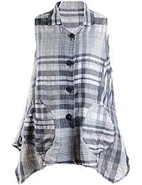 501152263a9a AdoniaMode Damen Tunika-Bluse Zipfel Lagenlook Kariert Karo Muster ärmellos  ohne Arm Reine Baumwolle dt. große…