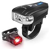 1895 Fahrradlicht LED Fahrradbeleuchtung Akku XPG LED, USB Wiederaufladbare Fahrrad Licht, Automatische Helle, 5 Modi, 1×Set-Fahrrad Scheinwerfer+Fahrrad Rücklichter