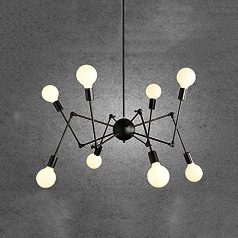 Yuyuan Light Post-modern Eisen Kronleuchter, American Village Retro Industrie Wind Einfache Deckenleuchte, Wohnzimmer Restaurant Schlafzimmer Beleuchtung Dekorative Hängelampe, 8 Kopf Spinne Aktivität Kronleuchter, E27 schwarz