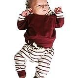 2PCS Tops + Pantaloni, feiXIANG Toddler bambino neonato vestiti set a righe felpa con cappuccio + Abiti pantaloni,miscela del cotone (3 Mesi, Rosso)
