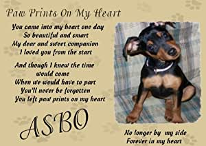 Dog bereavment poem - personalised -pawprints on my heart ...