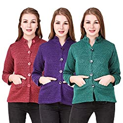 Kritika World Womens Wool Cardigan Dress (COAT_NHRU_RED_PURPLE_GREEN_Red Purple Green_Medium)
