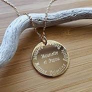 MELI MELOW Collier pendentif médaille ronde 27 mm et gravure de votre choix recto verso en plaqué or jaune - b