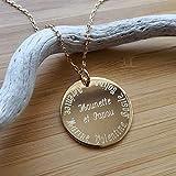 MELI MELOW Collier pendentif médaille ronde 27 mm et gravure de votre choix recto verso en plaqué or jaune - bijou personnalisé gravé made in France MIF...