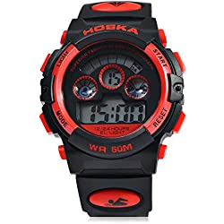 Leopard Shop HOSKA H001B Children Sports Wristwatch LED Digital Watch Day Chronograph Water Resistance Red Black