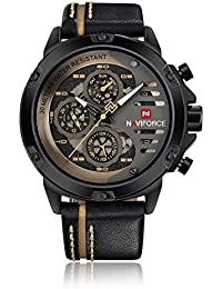 Naviforce reloj analógico cuarzo watch-men de cuarzo correa de piel Vintage Classic muñeca reloj, calendario, 24horas pantalla (negro/amarillo)