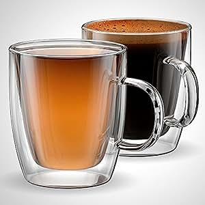 Tazza da caffè o tè in vetro, 350 mls, 12 oz, bcchieri a doppia parete, set da 2, isolate, tazze da tè, cappuccino, latte, piatto bianco