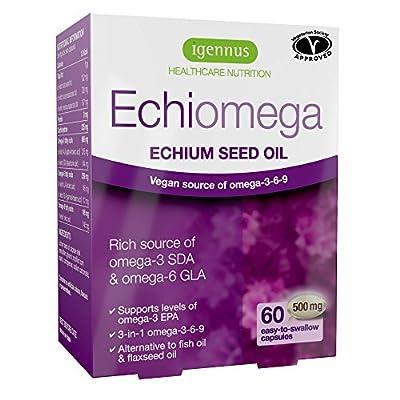 Igennus Echiomega Echium Seed Oil 500mg - Vegan & Vegetarian Omega-3-6-9 with Stearidonic Acid for Heart Health, Brain Function & General Wellbeing, 60 capsules