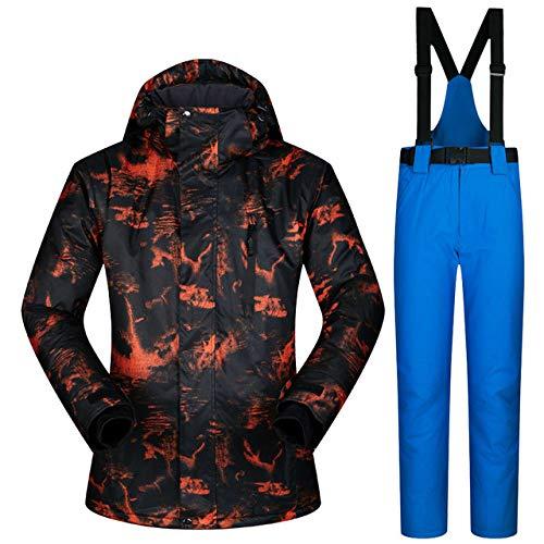 ZYJANO Skianzug Ski Jacket Men Warm Winter Skiing and Snowboarding Suit Jacket Pants Male Windproof Waterproof Wear Winter Men Ski Suit,TY02 Dark Blue,XL