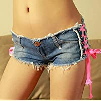 Frauen Jeans Shorts Hohe Taille Kreuz Lace Up Quaste Sexy Colormatch Mini Denim Hot Pants Lässige Zerrissene Loch Nachtclub Strand Kurze Hosen