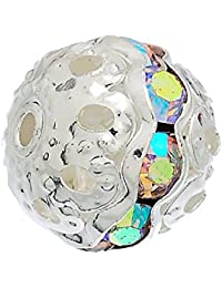 Hexawata Silver Color Spacer Balls Beads With Rhinestone Pack Of 20pcs Clear