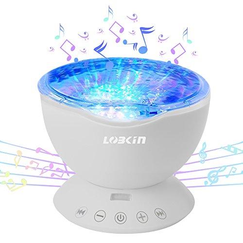 LOBKIN Proyector LED de Olas del Mar con control remoto 12 LED y 7 colores de lámpara de noche con mini reproductor de música incorporado para la sala de estar y el dormitorio (blanco)