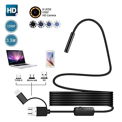 KOBWA Endoskop für Android, USB-Endoskop, halb-starr, wasserfest, 3-in-1-Messfühler, Endoskop, 1200P HD mit 8 verstellbaren LED-Lichtern für Android, Windows und MacBook-Geräte 2M