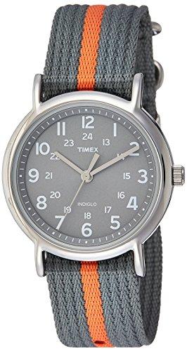 Timex t2n649 orologio da polso al quarzo, analogico, unisex, nylon, grigio