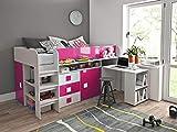 Furnistad Kinderzimmer Komplett EKO | Kinder Halbhochbett mit Schrank, Schreibtisch und Leiter (Weiß + Rosa)