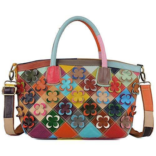 yaluxe-womens-genuine-lambskin-leather-floral-rhombus-ornamental-top-handle-tote-large-shoulder-bags