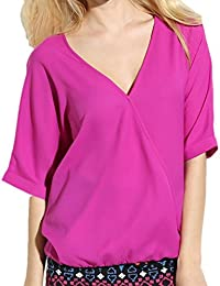 Eve Mode - Blouse cache-coeur à manches longues rose Taille 34 36 38 40