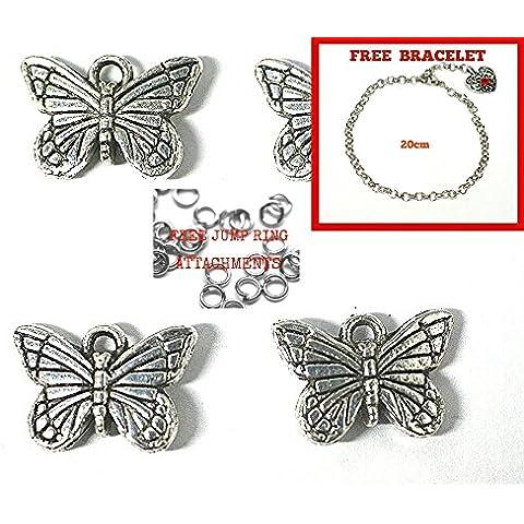 * Free braccialetto.* 20x Argento Antico Placcato ciondoli a forma di farfalla Kit. Uso Universale per gioielli, biglietti e anticato. Check Out ampia gamma di perline, ciondoli e risultati (Ref: jsb10a9)