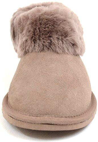 Damen Luxus Schaffell Slipper Stiefel mit dickem Manschette & leicht  Flexible Hart Sohle von bushga ...