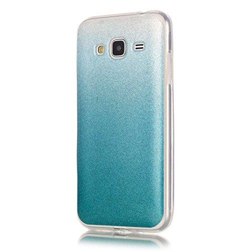 Cozy Hut Samsung Galaxy J3 Hülle,Samsung Galaxy J3 Case, TPU Case Schutzhülle Protection Protective Haut und Soft Schutz Tasche Etui Bumper Farbmalerei Blau Kleine Sterne Punkt Muster Desi