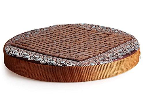 El cojín esterilla de tatami Zen de la estera del yoga Retreat círculo redondo Diámetro 50 cm acolchado (puede estar hecho de otros tamaños), de color café claro