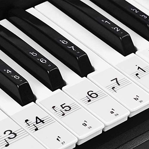 Klavier Keyboard Aufkleber für 54/61 / 76/88 Tasten Noten [ Gratis Ebook ] Piano Sticker für weiße & schwarze Tasten Transparent und abnehmbar (Schwarz)